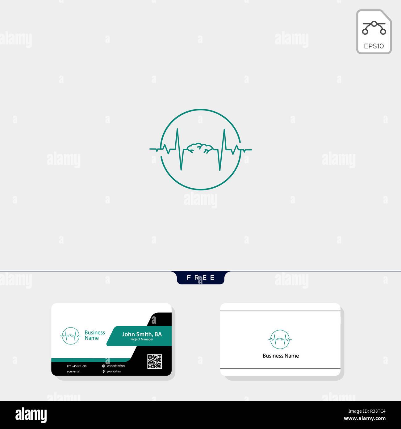 Cerveau Et Le Concept De La Vague Lectrique Modle Logo Illustration Vectorielle Conception Carte Visite Gratuit