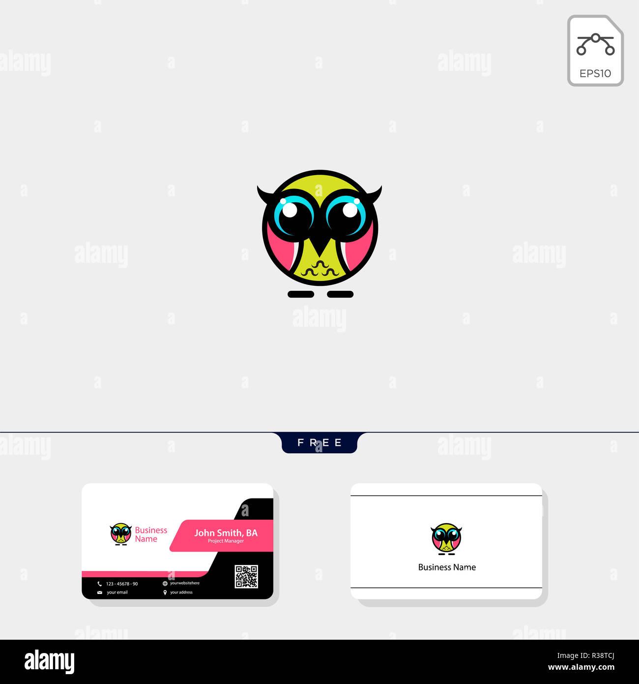 Cute Owl Modele Logo Vector Illustration De Conception Carte Visite Gratuit