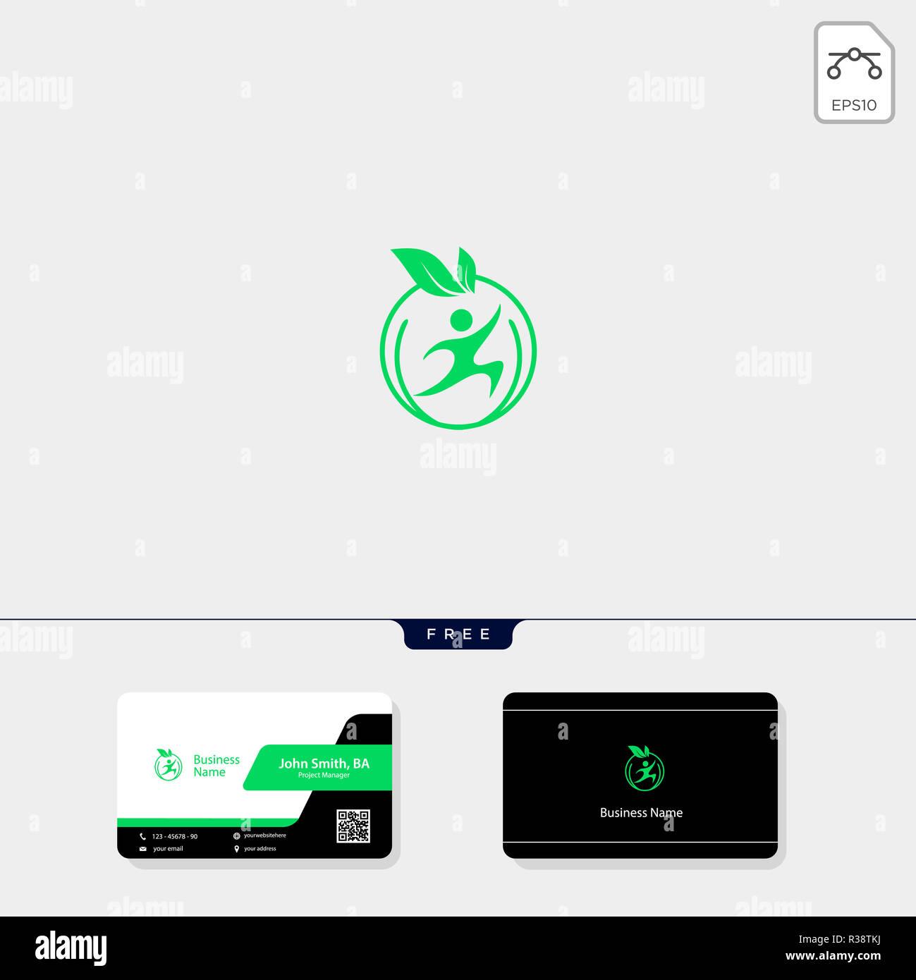 Feuille Concept Humain Modle Logo Illustration Vectorielle Votre Carte De Visite Design