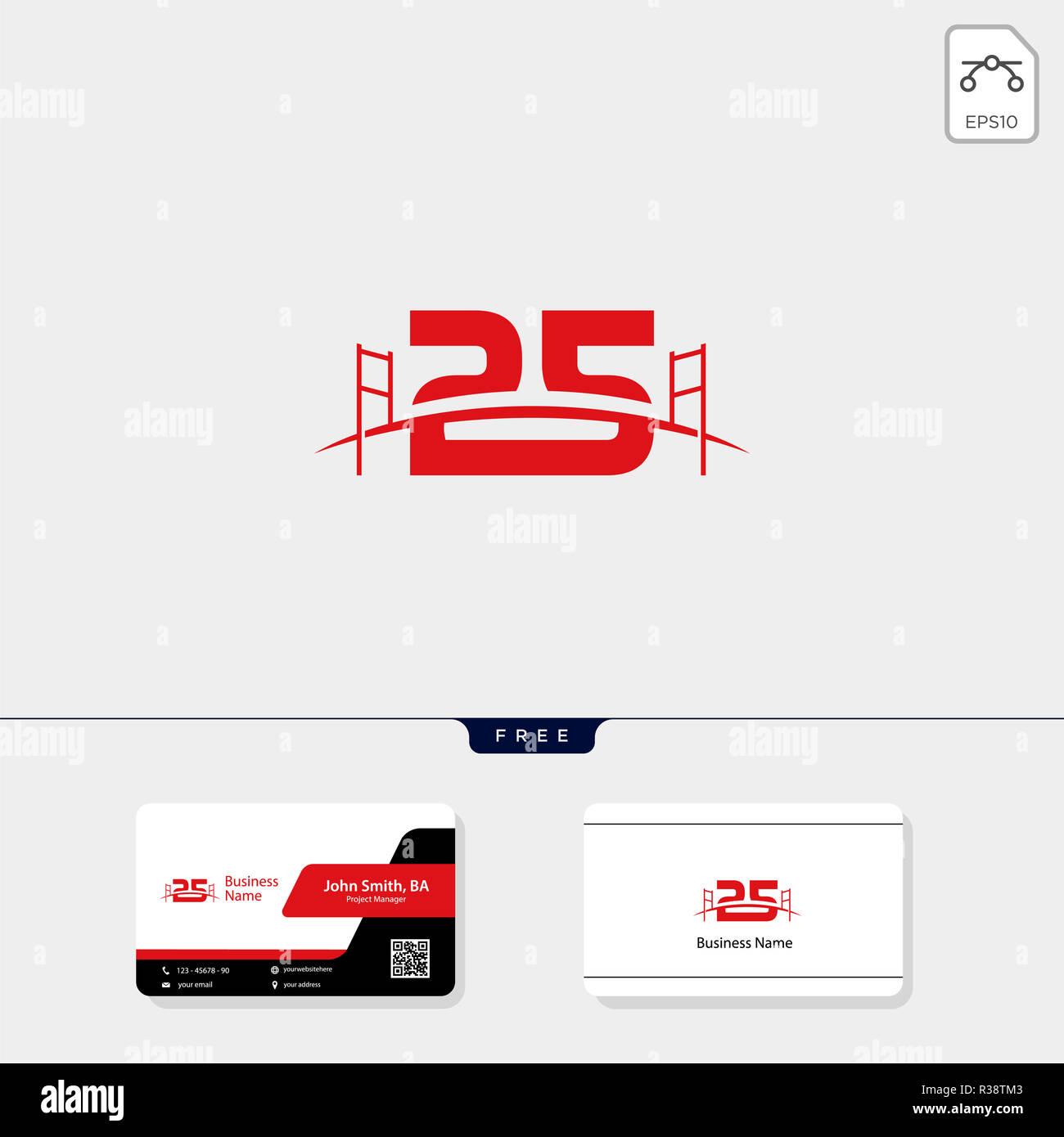 25 La Construction De Ponts Pour Les Modele Logo Vector Illustration Carte Visite Conception