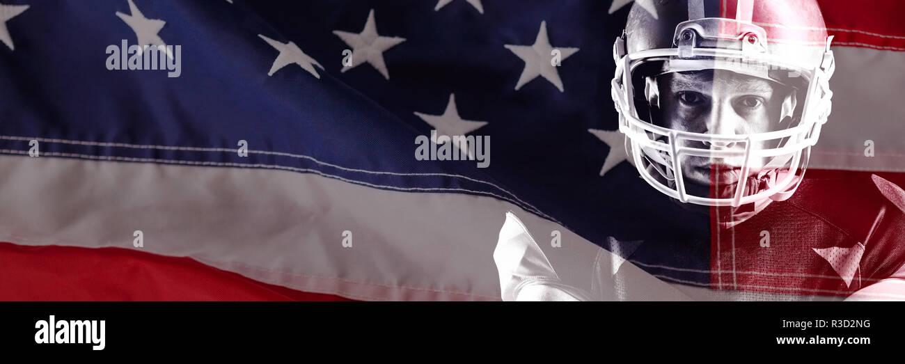 Image composite de close-up de rouge et blanc drapeau américain Banque D'Images