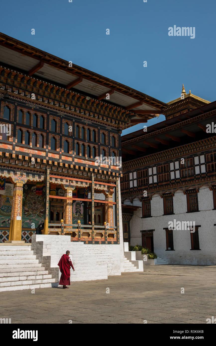 Le Bhoutan, Thimphu. Tashichhoedzong (aka Tashichho Dzong) monastère bouddhiste historique et de la forteresse qui abrite aujourd'hui le siège du gouvernement civil du Bhoutan. Photo Stock