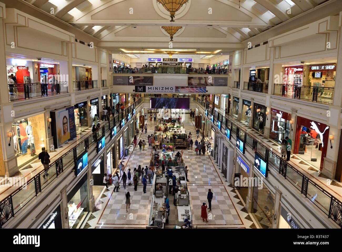 Ambience Mall, un centre commercial Centre commercial avec restaurants et cinémas, situé dans la région de Vasant Kunj New Delhi. Photo Stock