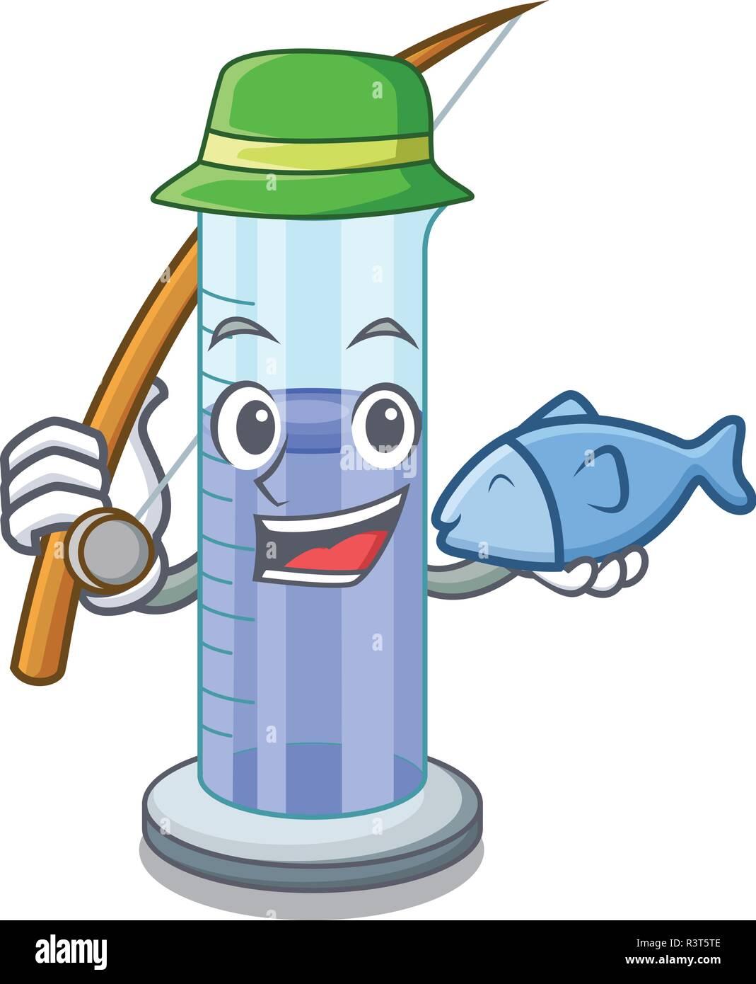 En forme de cylindre gradué de pêche isolé sur cartoon Photo Stock