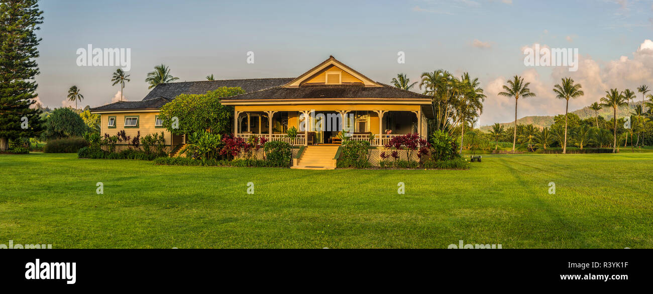 La baie de Hanalei, Kauai, Hawaii, Kauikeolani Estate Photo Stock