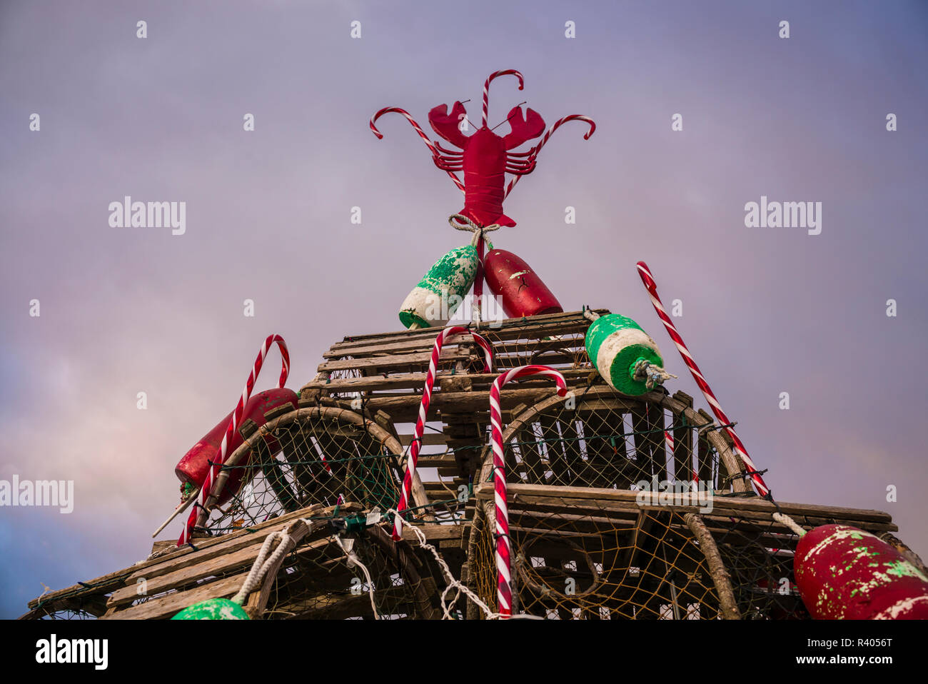 Christmas tree made of lobster traps with lobster photos