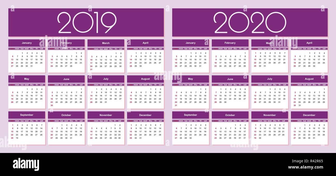 Calendrier 2020 Et 2019.Calendrier Pour L Annee 2019 Et 2020 Fond Violet Vecteur