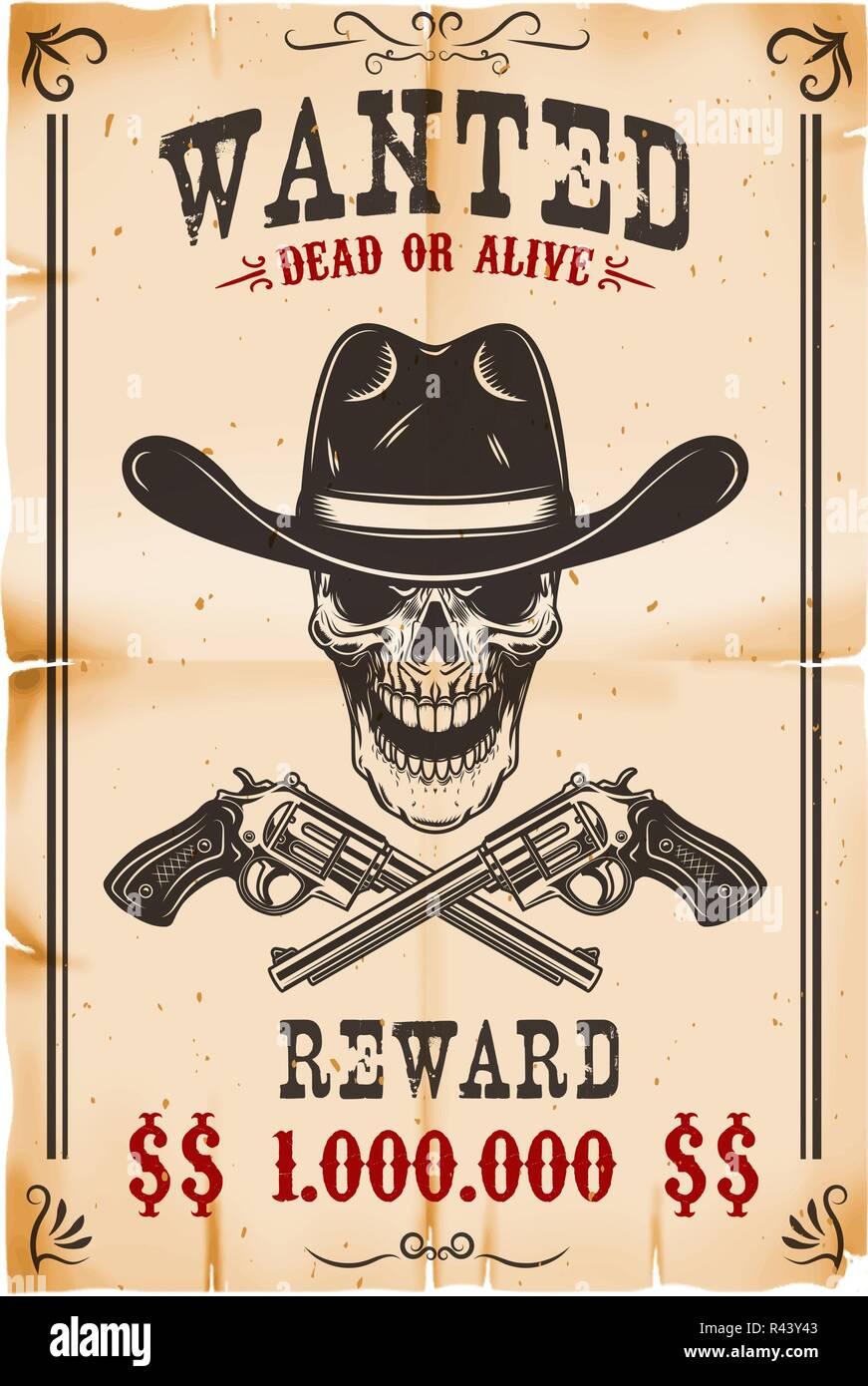 Avis De Recherche Modle Crne Cowboy Avec Travers Revolvers Llment Conception Pour Poster Carte Tiquette Panneau Visite Bannire
