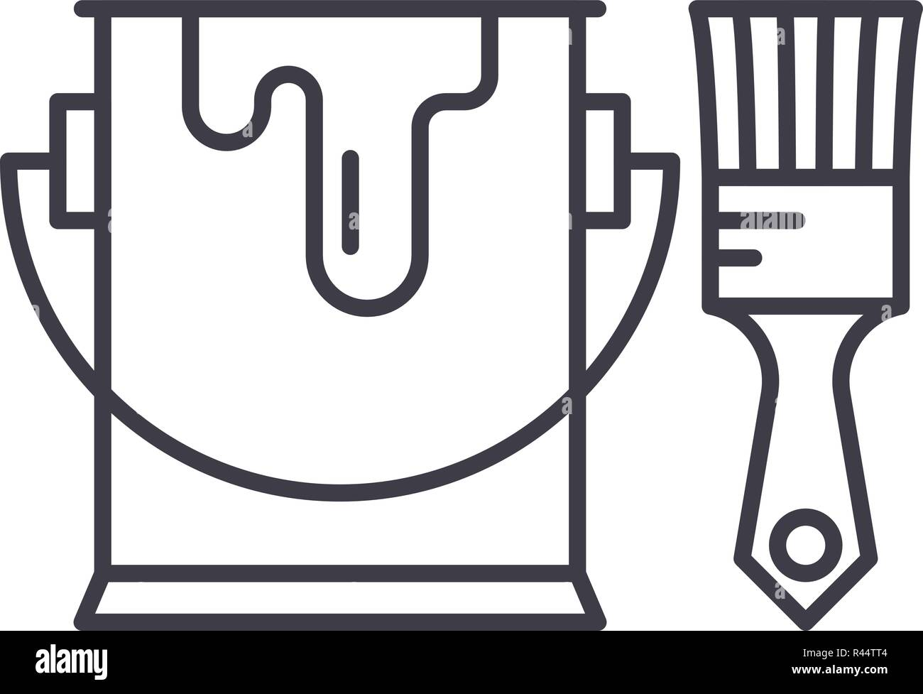 L Icone De La Ligne De Peinture De Concept Pinceau Peinture Et Illustration Lineaire Vectorielle Symbole D Un Signe Image Vectorielle Stock Alamy