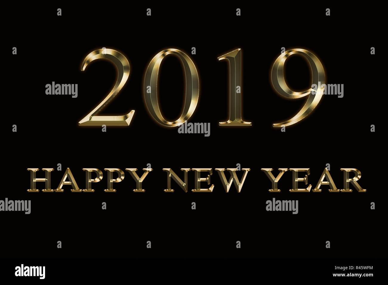 2019 Bonne Année Fond Noir Texte Dor Design Message D