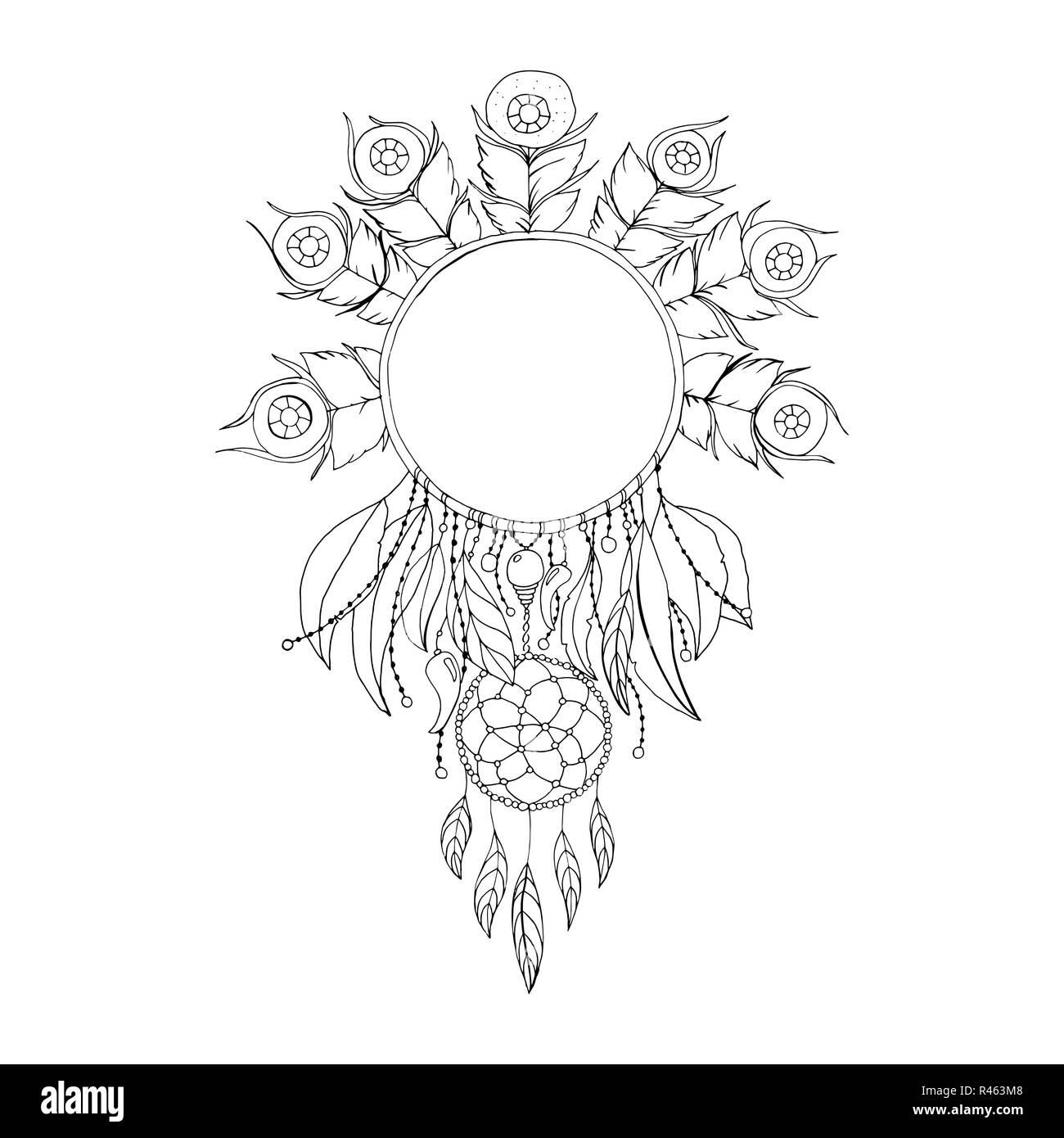 Coloriage Anti Stress Mode.Dreamcatcher Noir Et Blanc Symbole Vecteur Isole L Illustration De