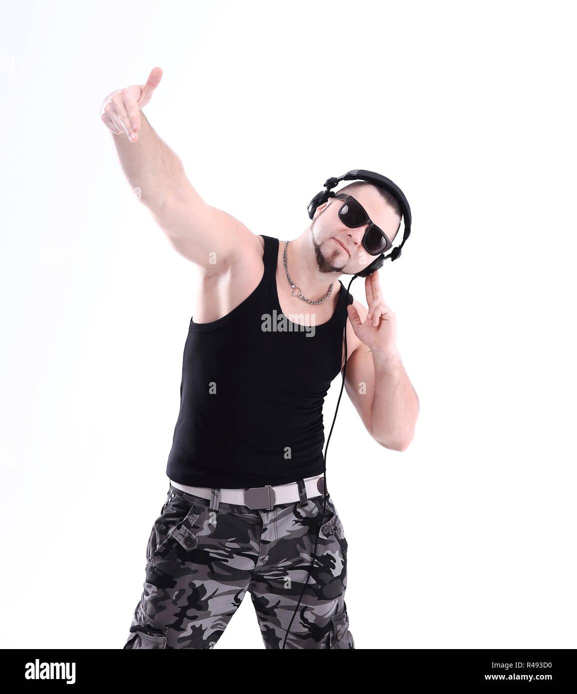 Modèle de mode urbaine. Hipster DJ Hip Hop Street dance style Banque ... 906794f207a