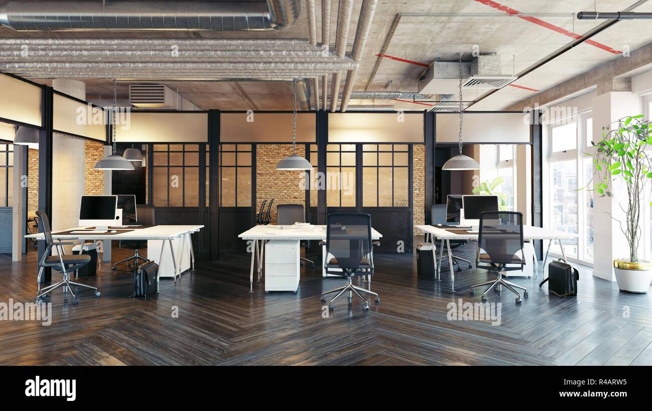 bureau moderne design d'intérieur. rendu 3d concept loft banque d