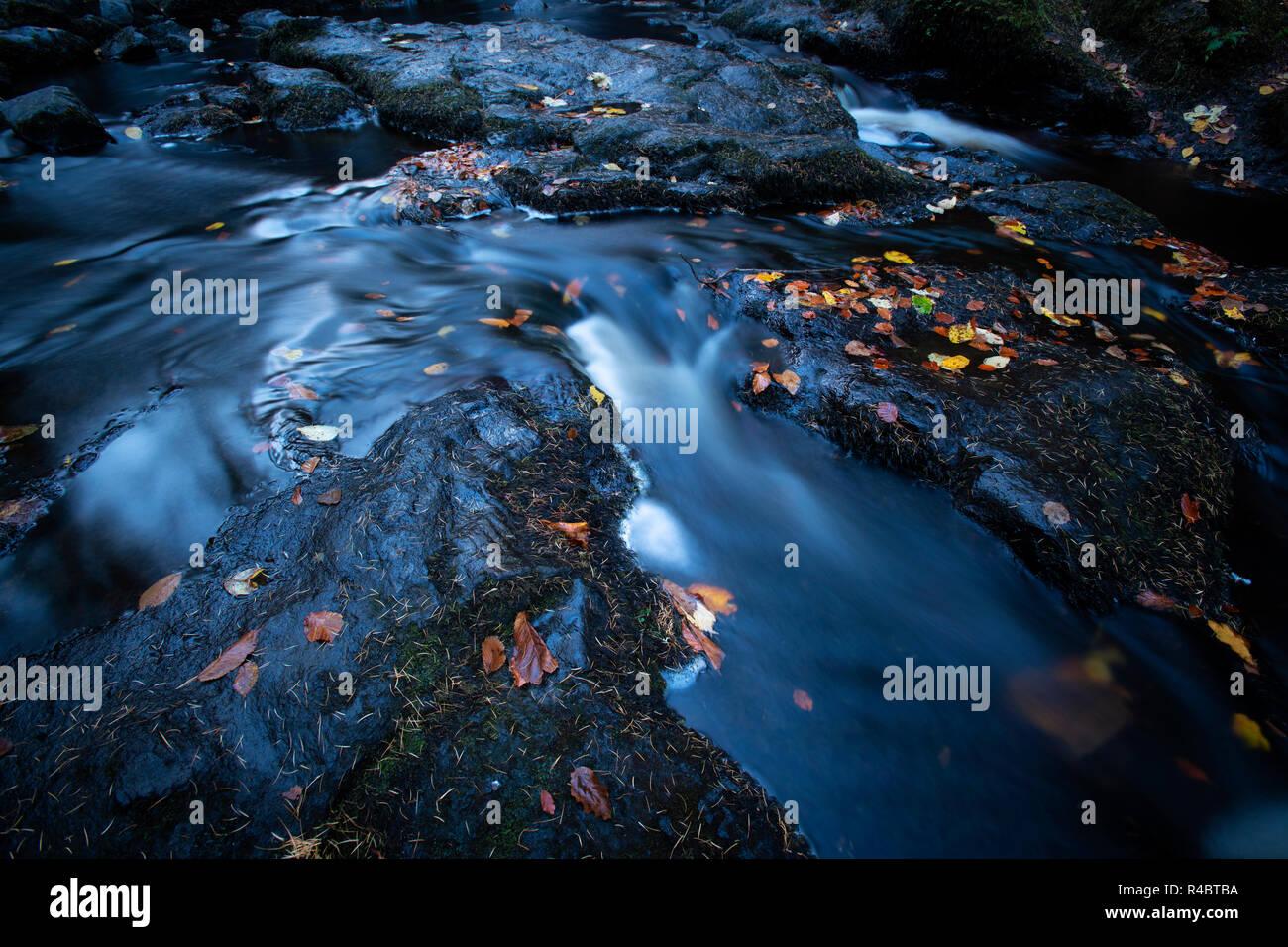 Chute d'eau à Glenariff Forest Park Les Glens d'Antrim Banque D'Images