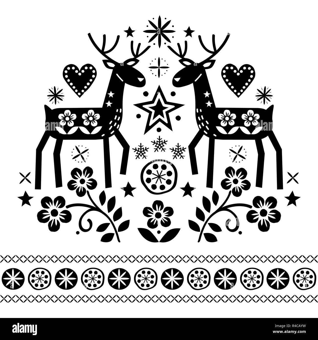 Vecteur Conception De Noël Avec Rennes Fleurs Art