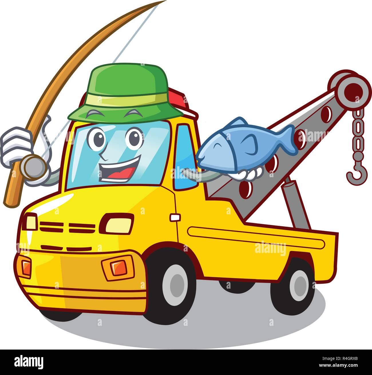 Transport de pêche sur le camion voiture dessin animé de remorquage Photo Stock