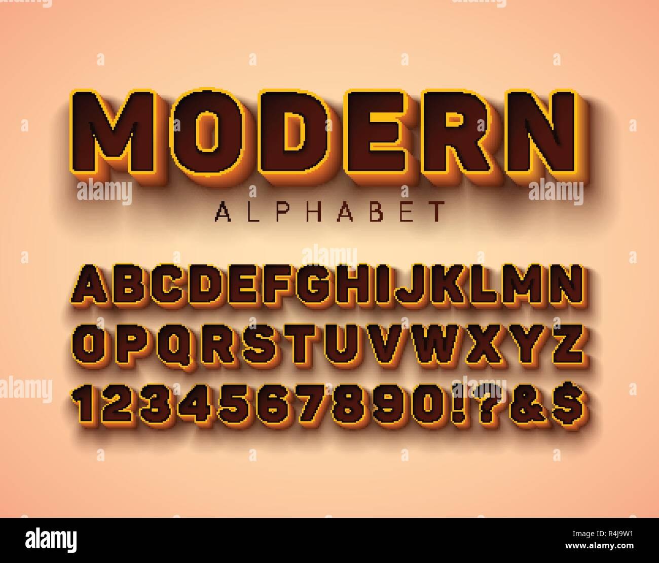Vector Alphabet 3d font avec cadre et l'ombre sur fond rouge