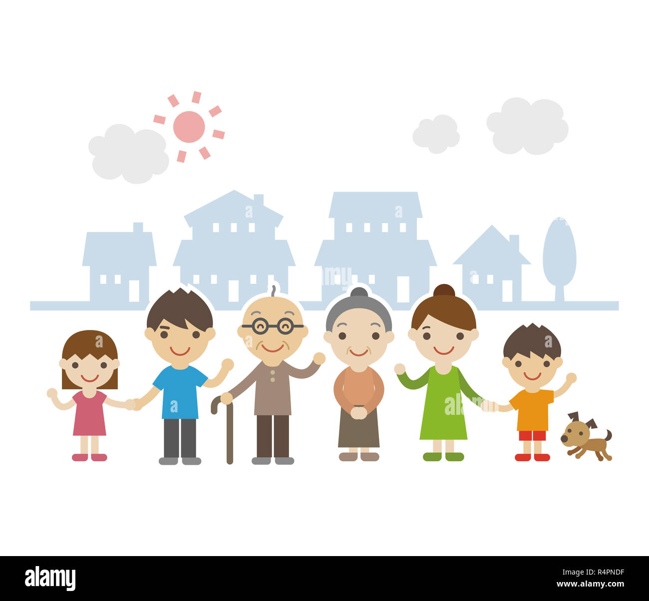 Three Generation Family smiling Together Banque D'Images