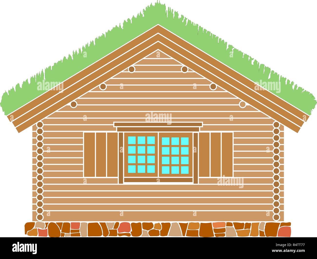 Maison traditionnelle norvégienne de bois rond . Le toit est recouvert de greensward. Vector illustration. La couleur d'ossature. Photo Stock