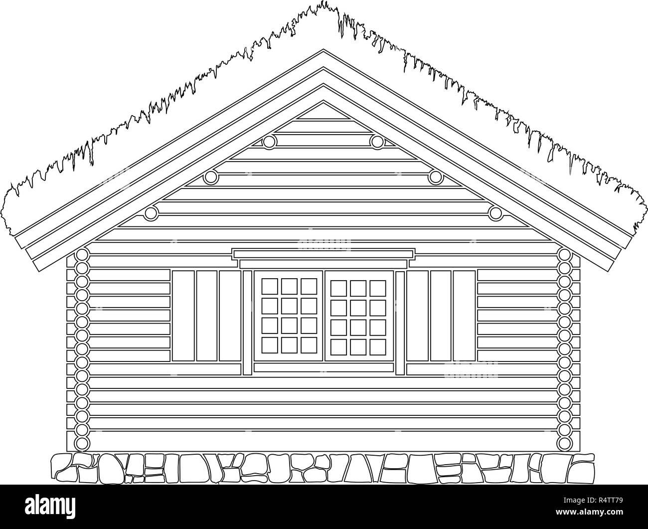 Maison traditionnelle norvégienne de bois rond . Le toit est recouvert de greensward. Vector illustration. Silhouette noire. Photo Stock