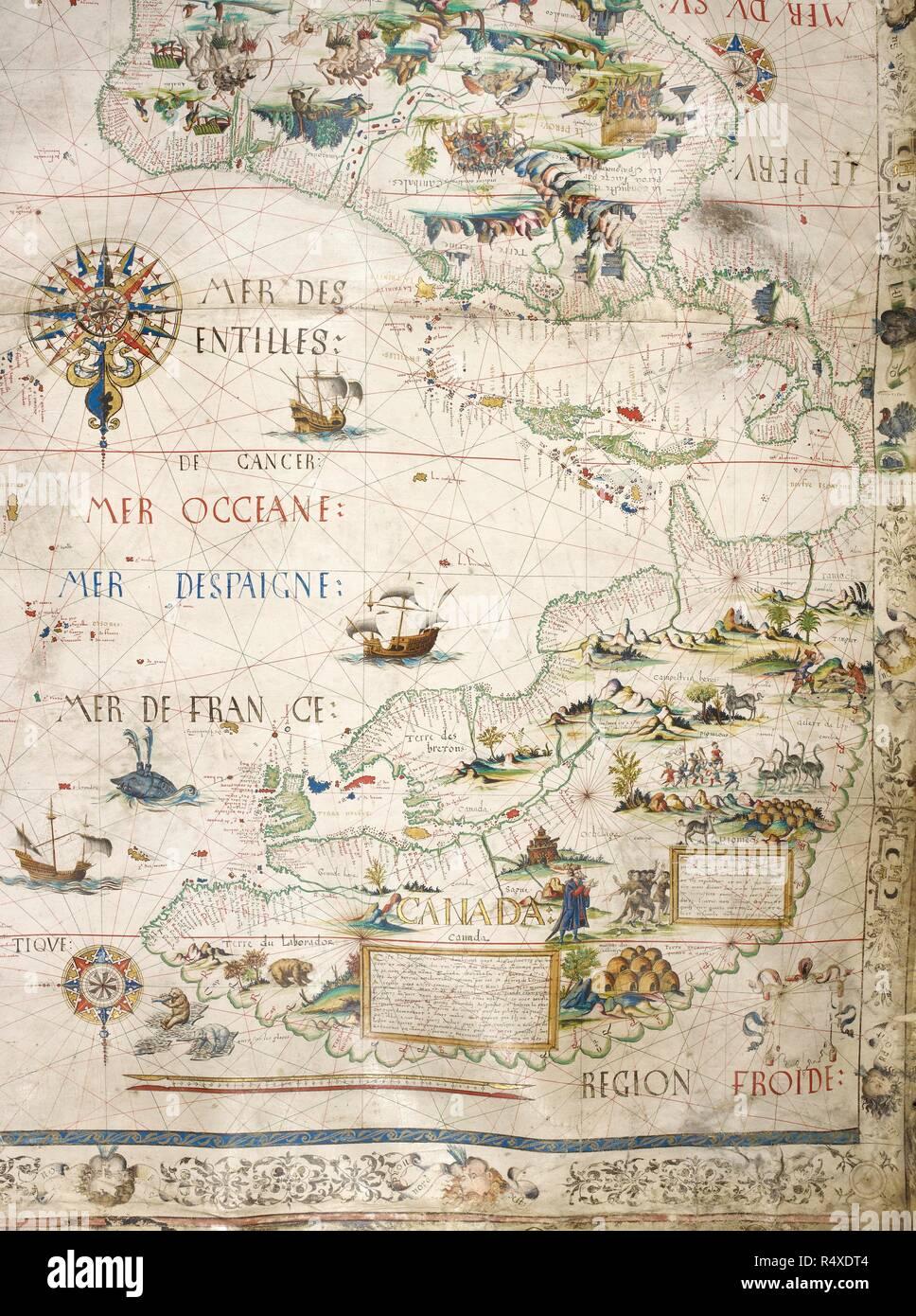 Carte Historique Canada.Carte Du Canada Un Velin Historique Carte Peint Des