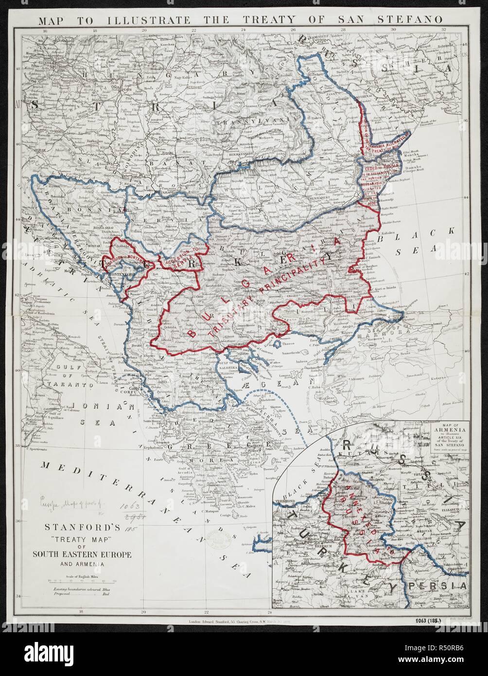 Carte Europe Du Sud Est.Une Carte Pour Illustrer Le Traite De San Stefano Un Traite Map
