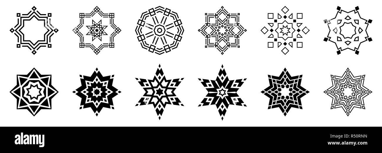 Flocons de set. Isolé sur fond blanc. Télévision, icônes neige silhouette. Éléments de conception géométrique pour la décoration de Noël. Cristal, éléments de glace. Photo Stock