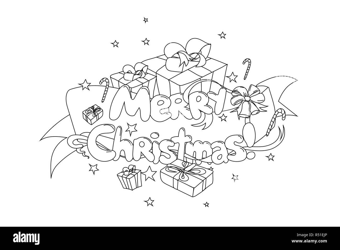Joyeux Noël Part Drawned Vector Illustration Noir Et Blanc