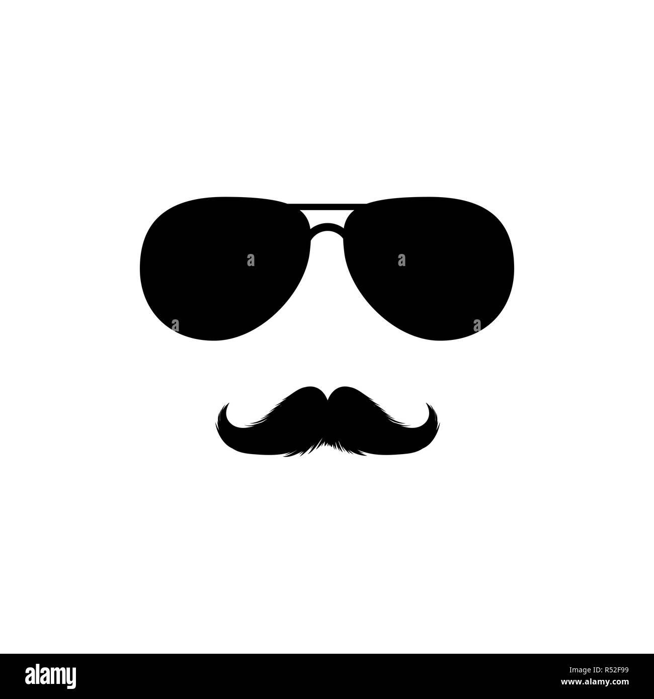 Les moustaches et lunettes de Mans Clipart Face. Lunettes Fashion noir Clipart vectorielles. D'ossature pour la découpe Laser Design. Pour Moustache mexicain de barbier ou de carnaval. Accessoire de mode. Photo Stock