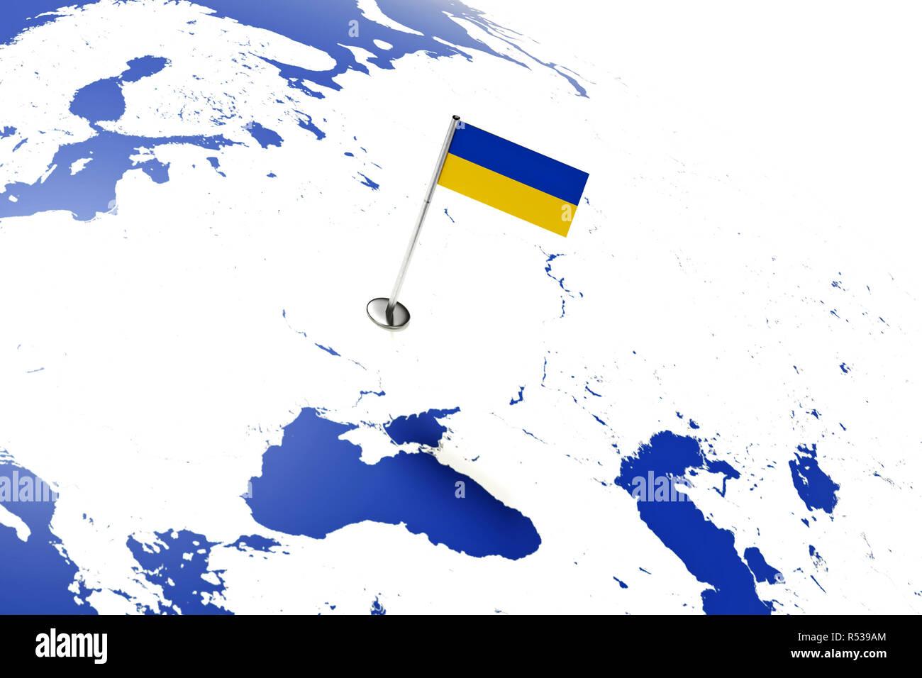 Ukraine Carte Du Monde.Drapeau De L Ukraine Drapeau Du Pays Avec Mat De Chrome Sur