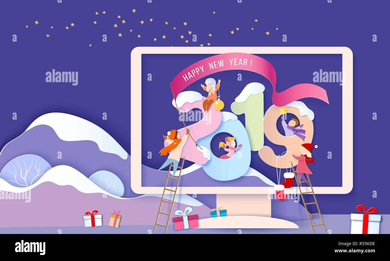 heureux nouvel an 2019 carte de conception avec des enfants avec de gros chiffres dans l u0026 39  u00e9cran