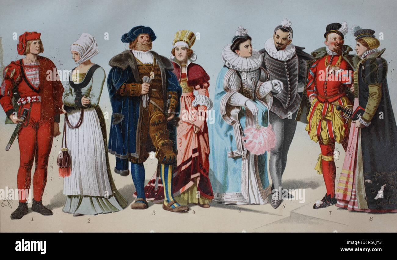 Les costumes de l'histoire ancienne, 16e siècle, Allemagne Photo Stock