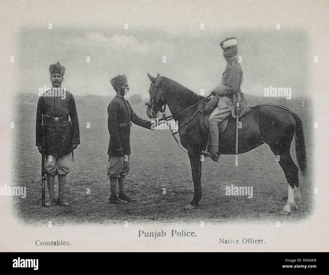 Carte De Linde En 1900.Police Du Pendjab Les Gendarmes Officier Natif Groupe En