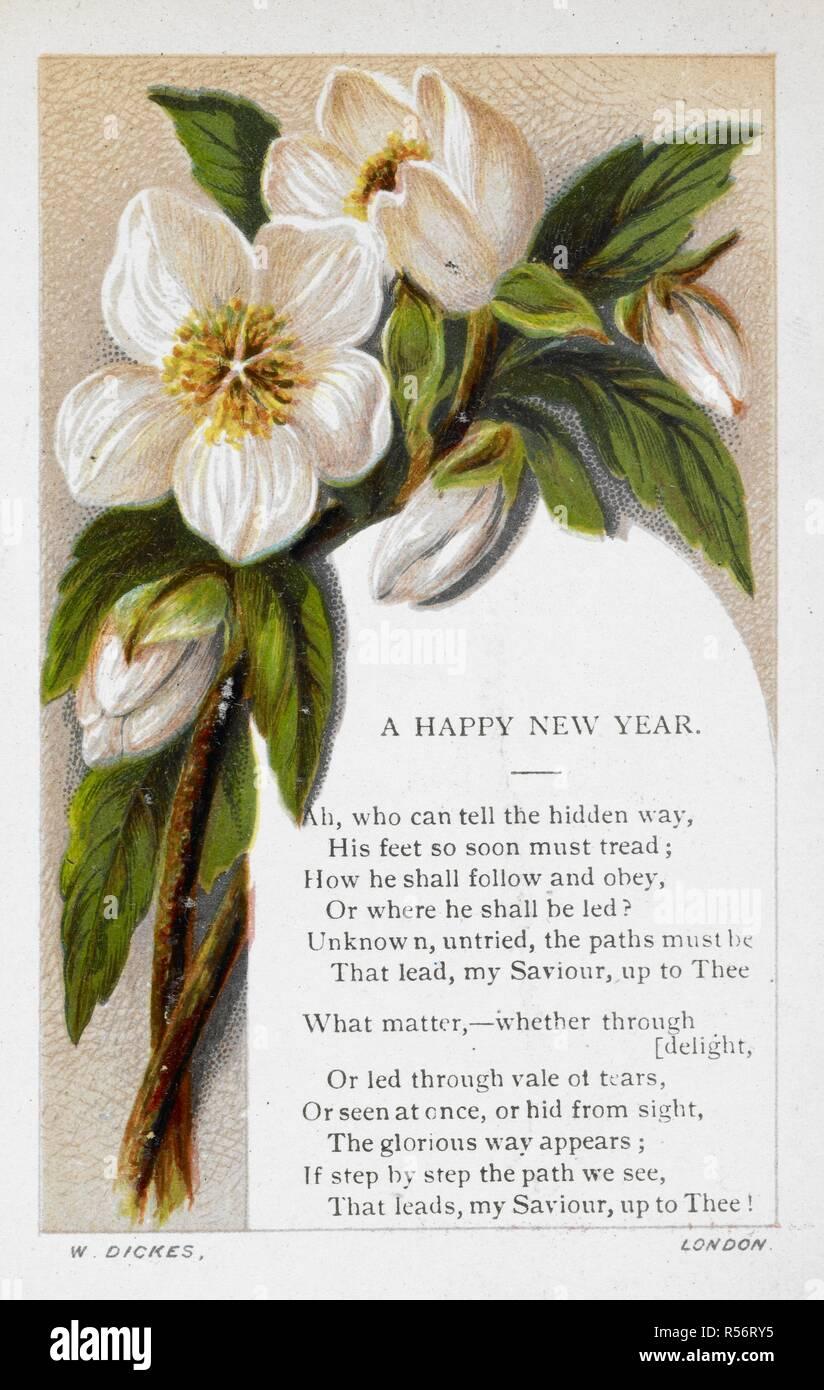 Carte De Vœux De Nouvel An Avec Décoration Florale Et Poème