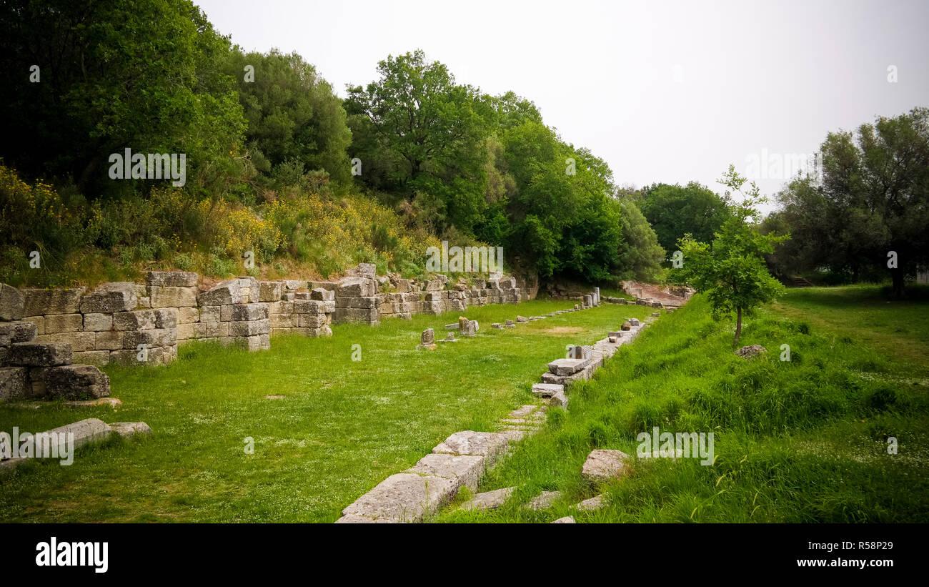 Ruines d'une ancienne cité grecque d'Apollonia à Comté de Fier, de l'Albanie Photo Stock
