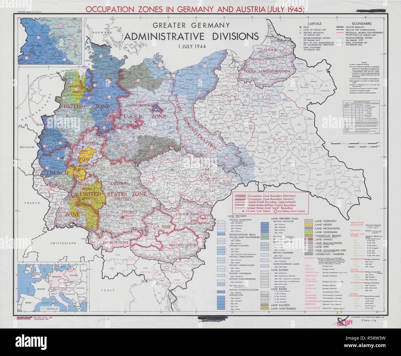 Carte Occupation Allemagne 1945.Juillet 1945 La Deuxieme Guerre Mondiale Des Cartes Et