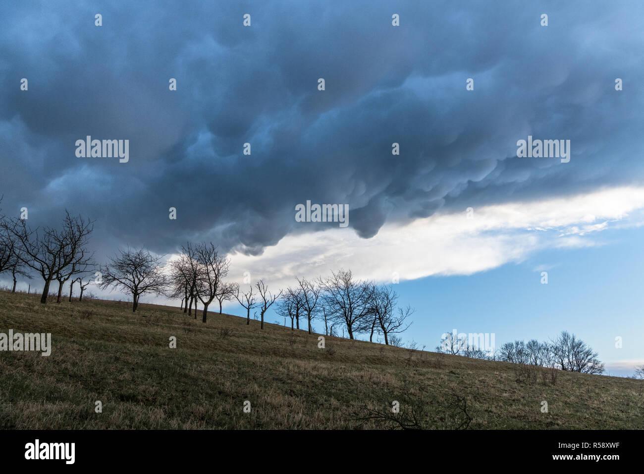 Szinérváralja, orages, nuages Mammatus, Thuringe, Allemagne Banque D'Images