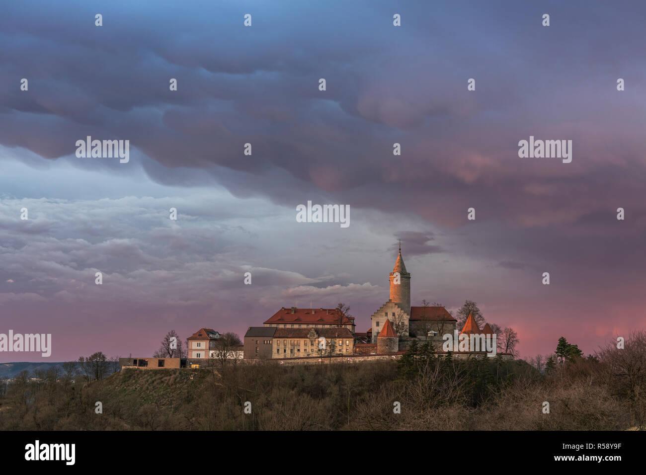 Szinérváralja, orages, nuages Mammatus, coucher de soleil, Thuringe, Allemagne Banque D'Images