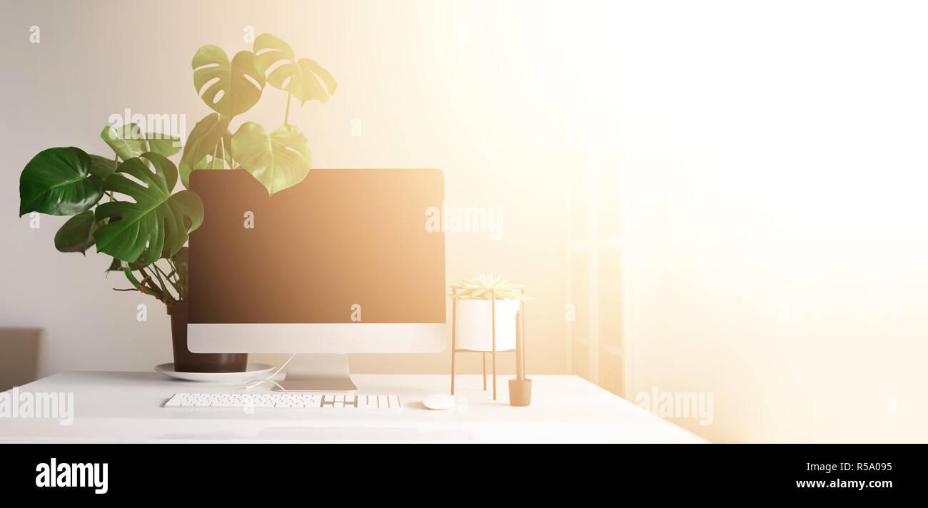 Table de bureau moderne ordinateur de bureau lampe blanche