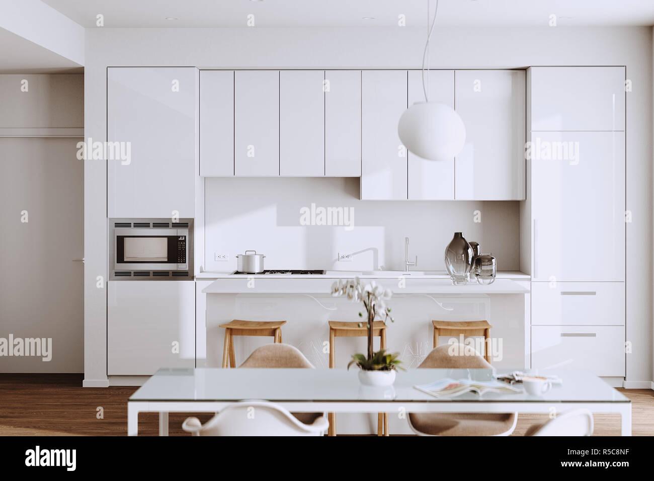 Belle Cuisine Moderne Blanc En Nouvelle Maison De Luxe Avec Des