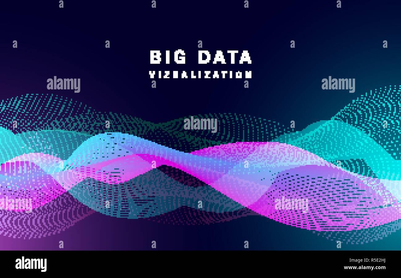 Big Data Visualisation bannière. Illustration réaliste de la visualisation de données grande bannière vecteur pour la conception web Photo Stock