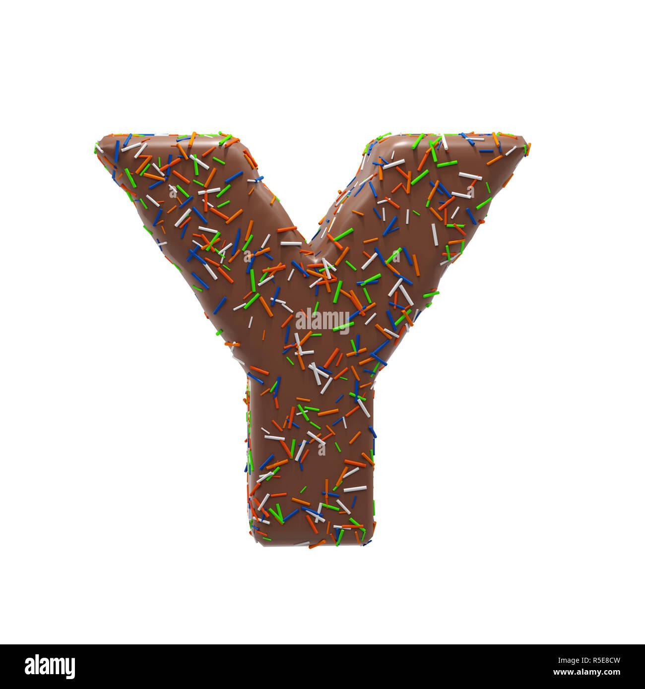 Gateau Au Chocolat Donut Font Avec Des Paillettes Lettre Y