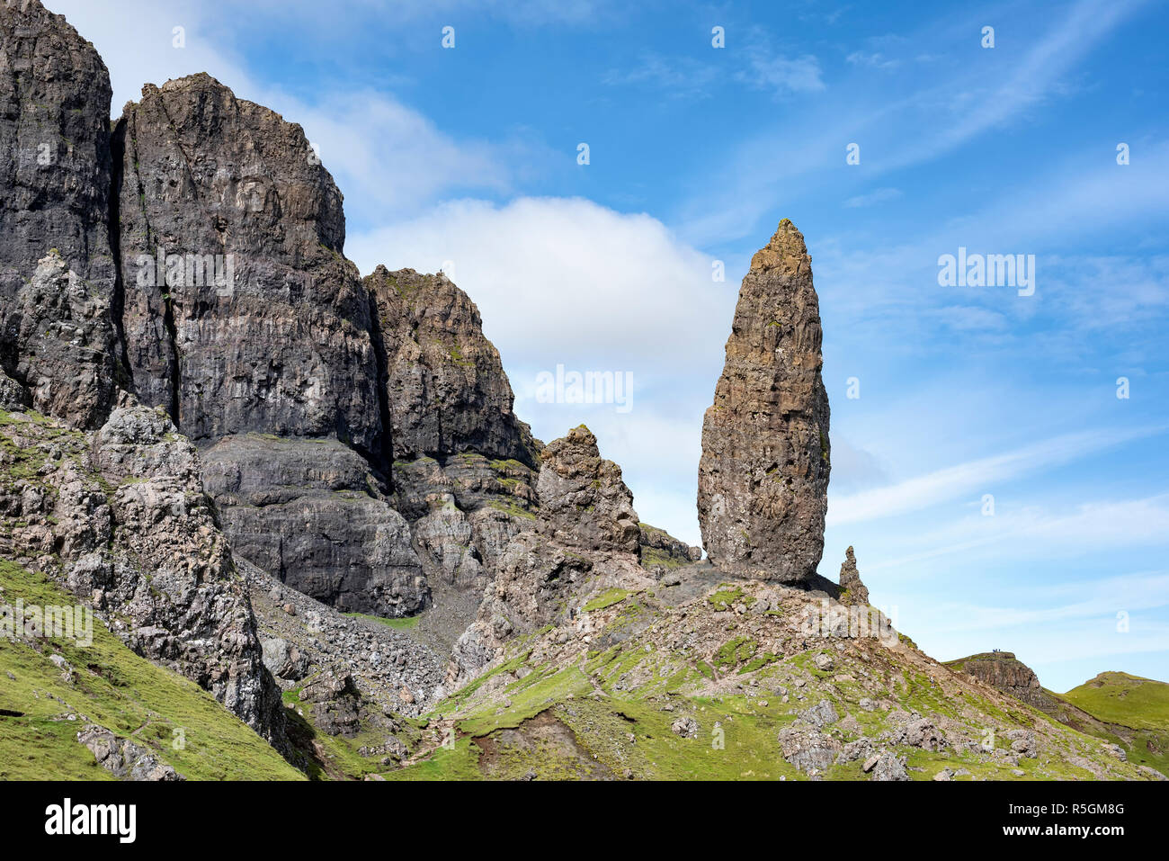 Homme de l'aiguille de Storr, Ile de Skye, Ecosse, Grande-Bretagne Photo Stock
