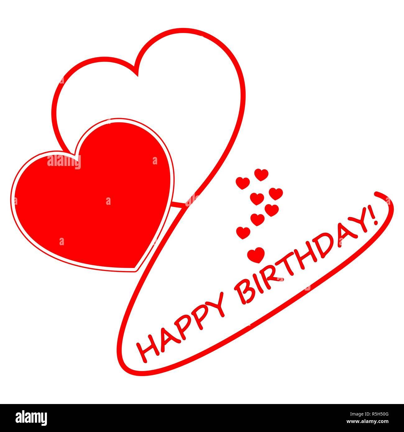 Joyeux Anniversaire Carte Avec Coeurs Rouges Illustration Photo Stock Alamy
