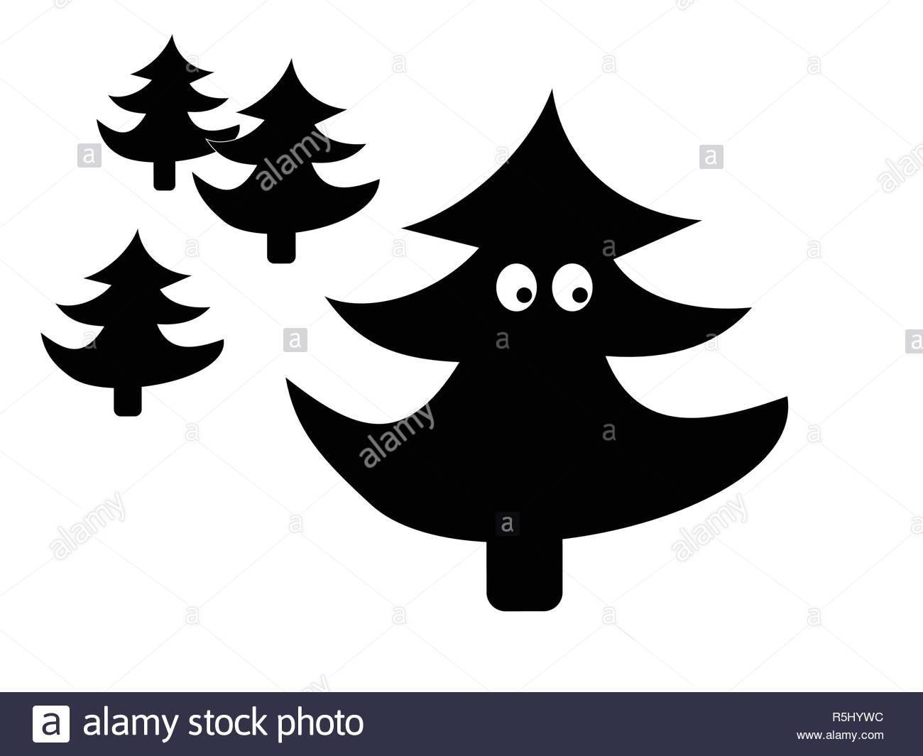 Silhouette d'arbre sapin rigolo Photo Stock