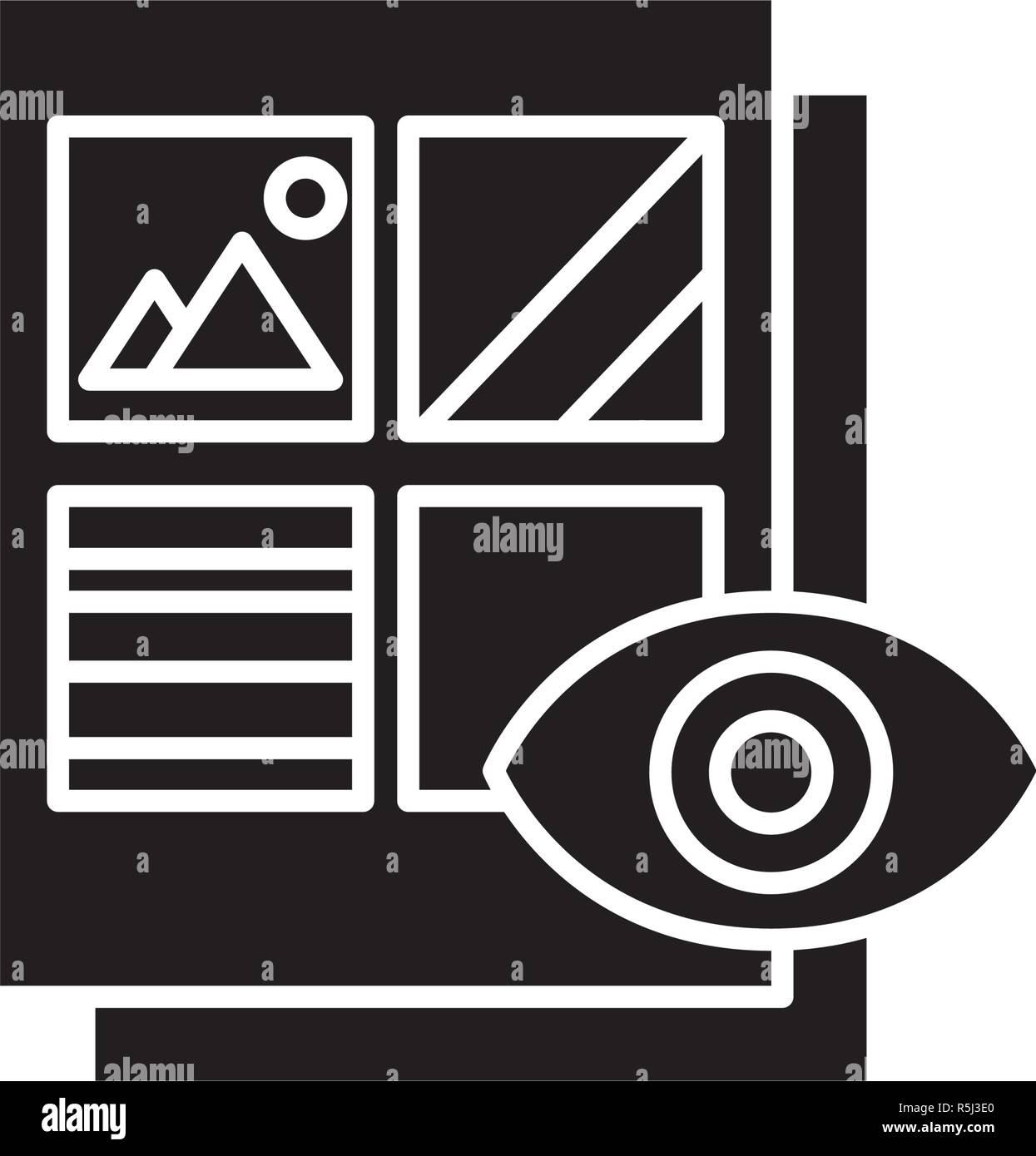 Document visuel icône noire, vector signe sur fond isolé. Document visuel symbole, illustration Photo Stock
