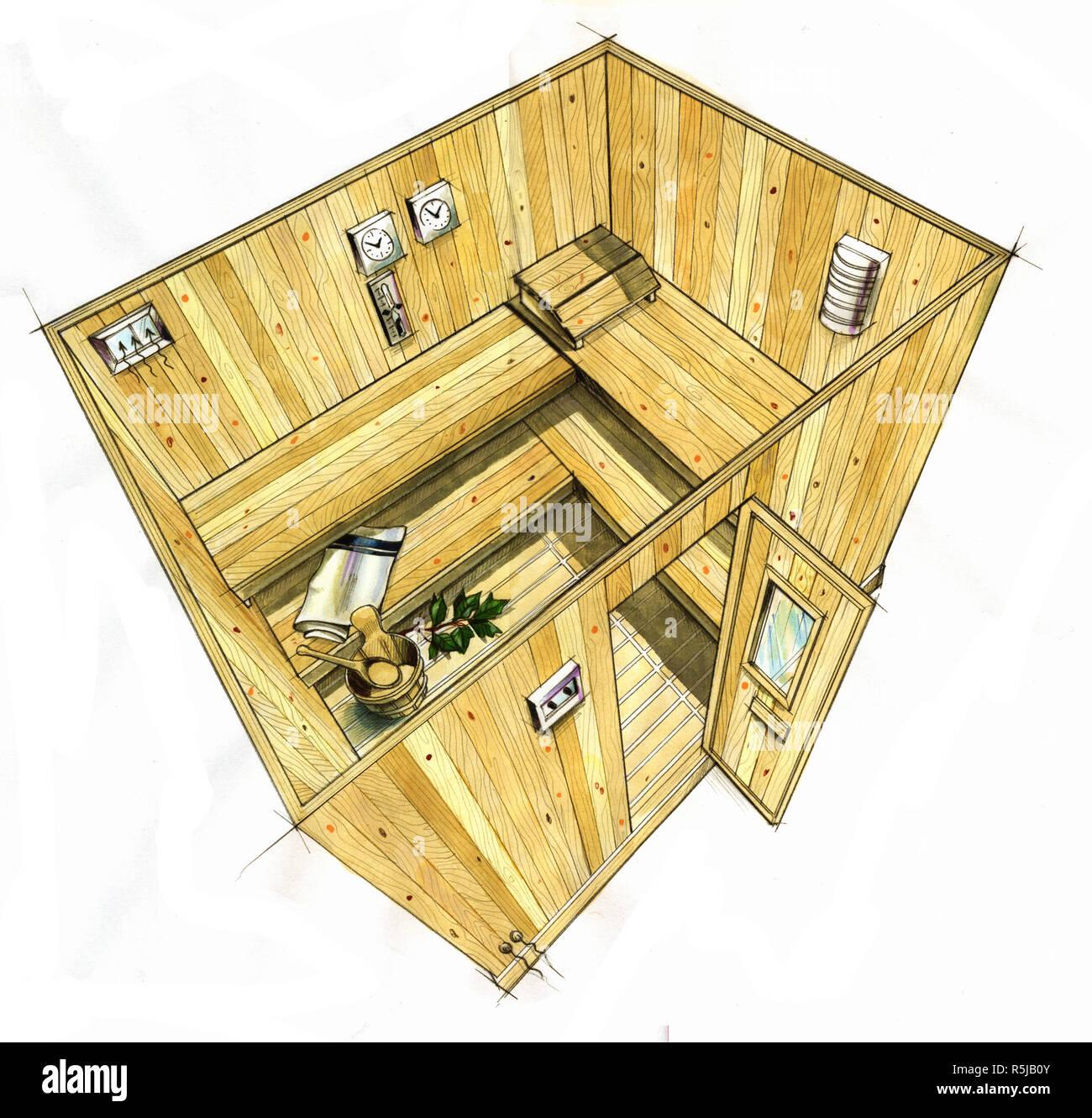 Prix D Un Sauna aquarelle illustration faite à la main d'un sauna en bois