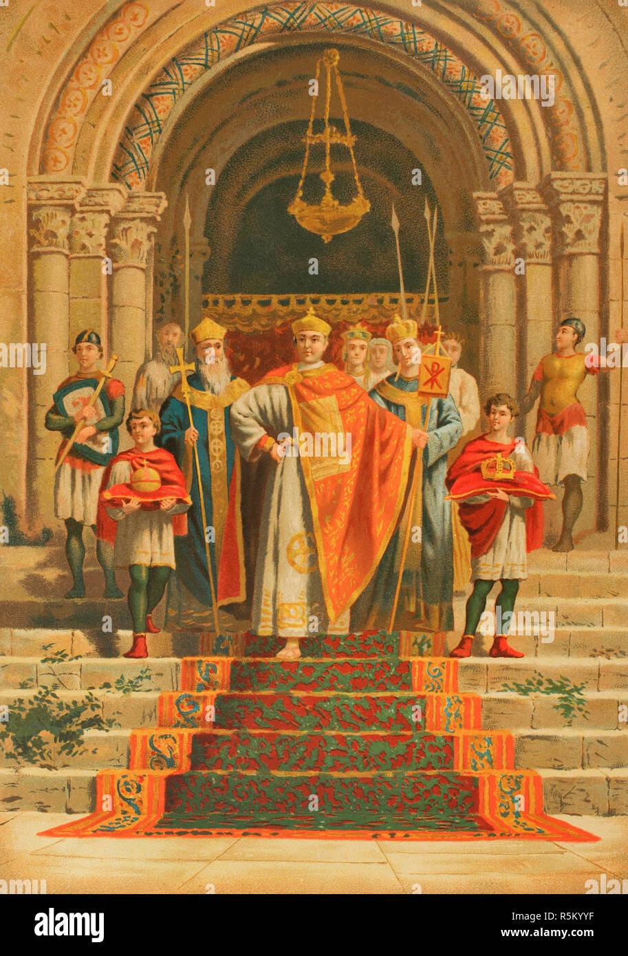 Arcadius (377-408). L'Est de l'empereur romain de 395 à 408. Arcadius apparaître en public. Lithography. La Civilizacion (la civilisation), volume III, 1882. Photo Stock