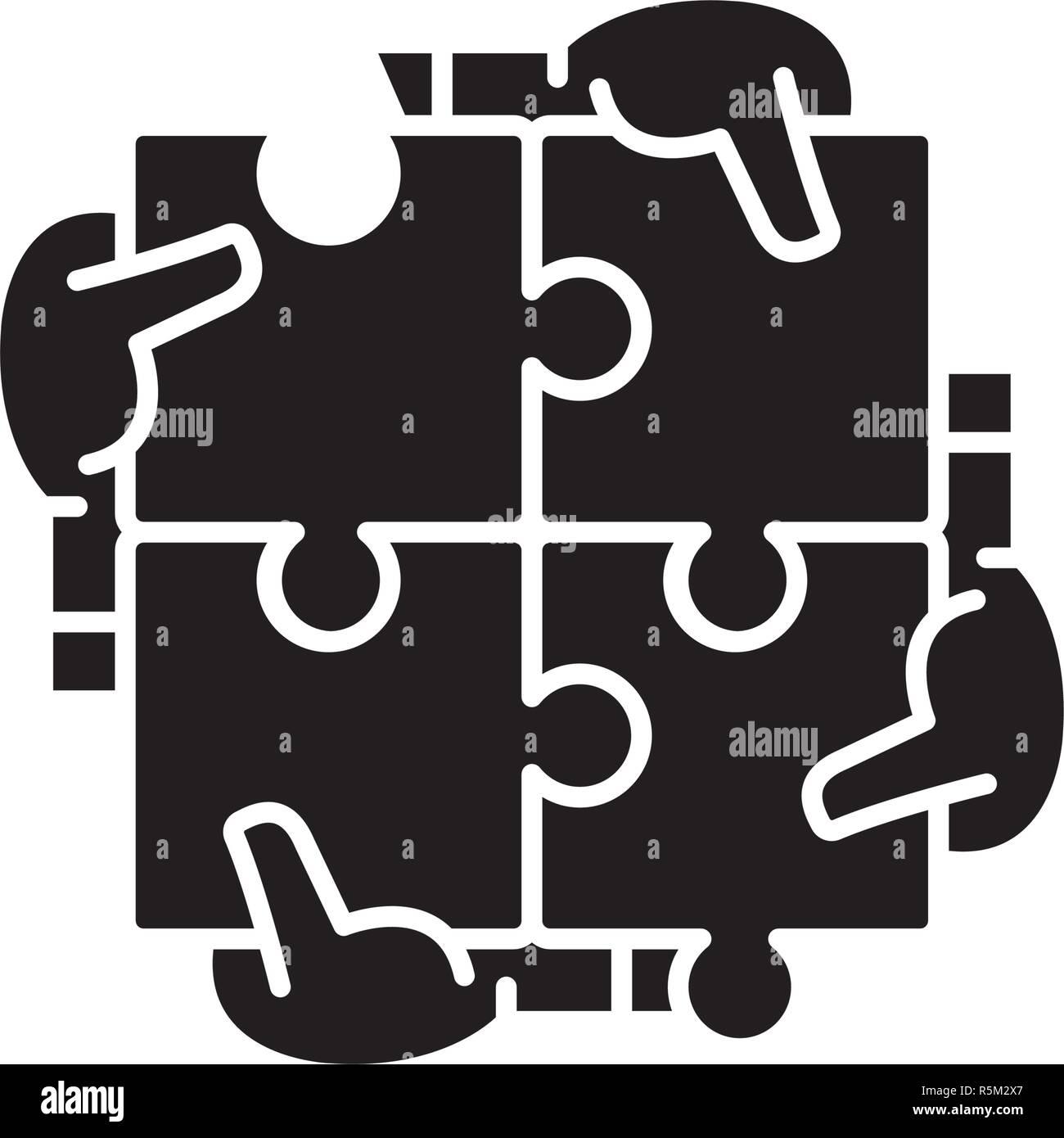 Une synergie d'affaires icône noire, vector signe sur fond isolé. Synergie entreprise symbole, illustration Photo Stock