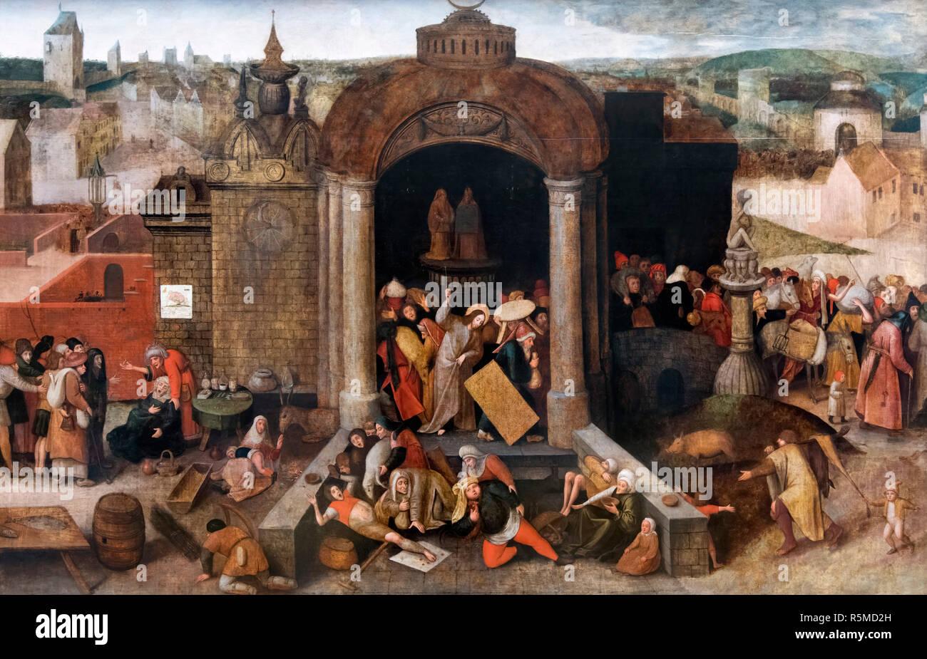 Christ conduisant le Traders du Temple par Pieter Brueghel l'Ancien ou disciple de Jérôme Bosch, huile sur panneau, après 1570 Photo Stock